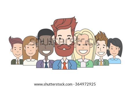 Businessmen Leader With Group Of Business People Team Vector Illustration - stock vector