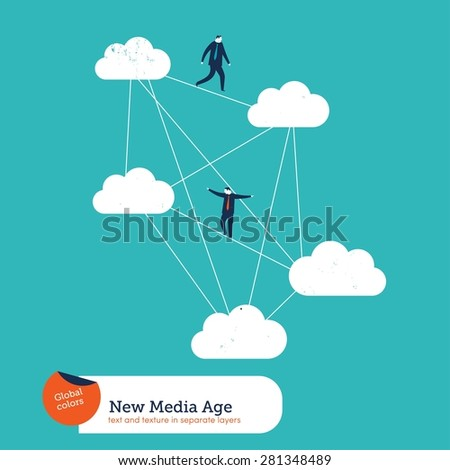 Businessmen moving from cloud to cloud. Vector illustration Eps10 file. Global colors. Text and Texture in separate layers. - stock vector