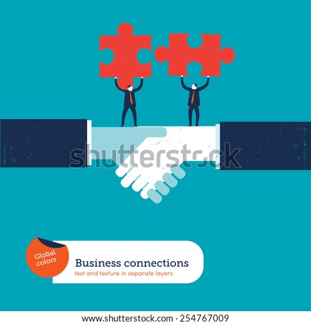 Businessmen on a handshake with matching puzzle pieces. Vector illustration Eps10 file. Global colors. Text and Texture in separate layers.  - stock vector