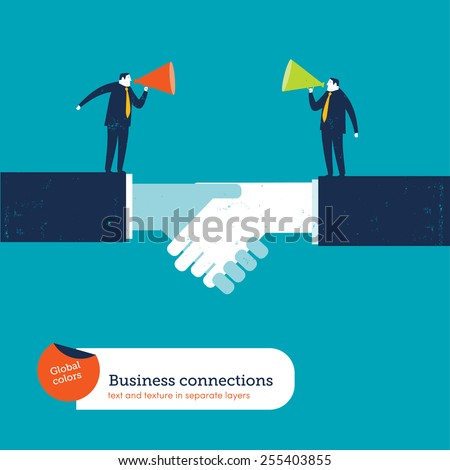 Businessmen on a handshake with megaphones. Vector illustration Eps10 file. Global colors. Text and Texture in separate layers. - stock vector