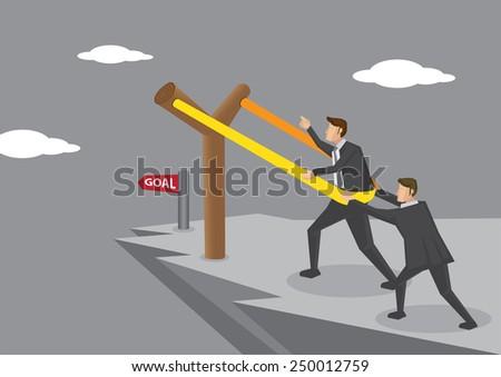 Businessmen on dangerous cliff putting themselves on gigantic Y-shaped slingshot catapult, aiming for business goal. Creative concept vector illustration. - stock vector