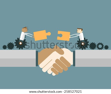 Businessmen on gear wheel with puzzle pieces: Shaking hands with two business people with matching puzzle pieces. Vector illustration business solution concept. - stock vector