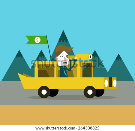 Businessmen on retro car watching through telescope. flat design element. vector illustration - stock vector