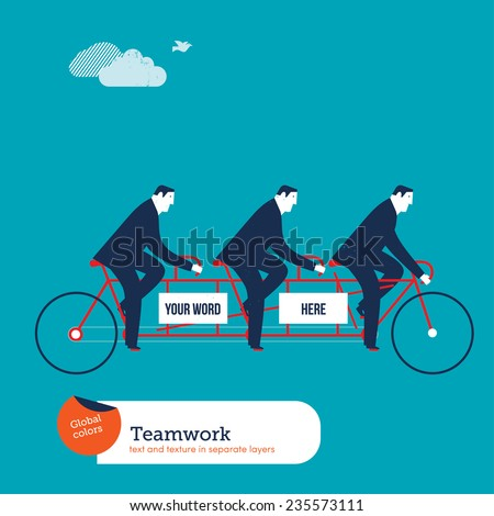 Businessmen on tandem bike with empty space to put words. Vector illustration Eps10 file. Global colors. Text and Texture in separate layers. - stock vector