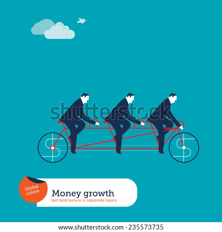 Businessmen on tandem bike with money sign. Vector illustration Eps10 file. Global colors. Text and Texture in separate layers. - stock vector