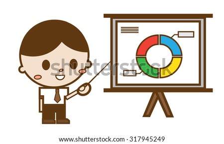 businessmen pointing at a chart board - stock vector