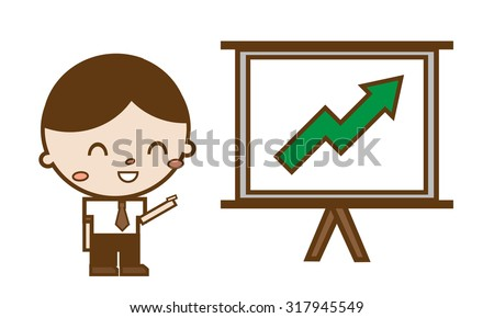 businessmen pointing at a Rise chart board - stock vector