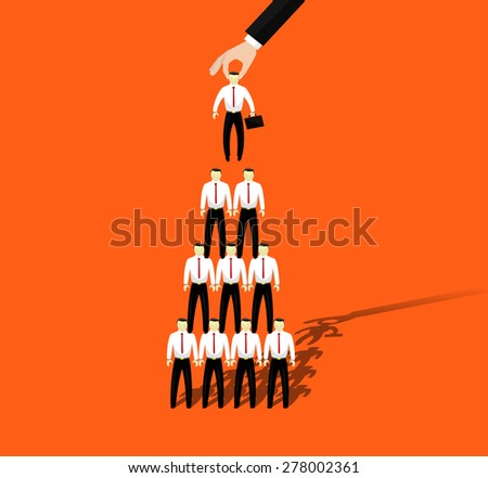 Businessmen promotion to higher position. Vector - stock vector
