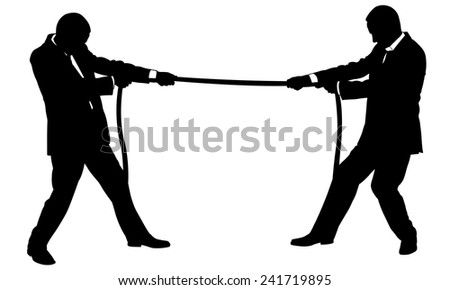 businessmen pulling a rope - stock vector