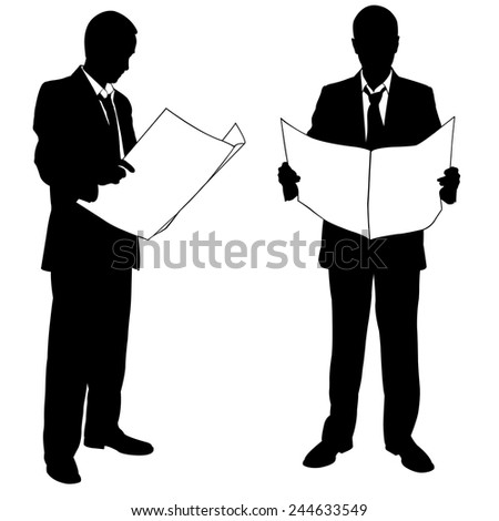 businessmen reading a newspaper - stock vector