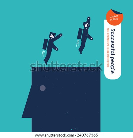 Businessmen robots flying with rockets from top of head. Vector illustration Eps10 file. Global colors. Text and Texture in separate layers. - stock vector