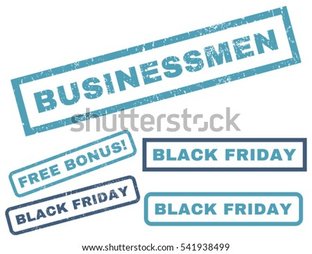 Businessmen rubber seal stamp watermark with bonus design elements for Black Friday offers. Vector cyan and blue emblems. Tag inside rectangular shape with grunge design and dirty texture.