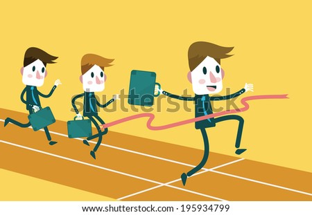 Businessmen running. Business competition Concept. flat design element. Vector - stock vector
