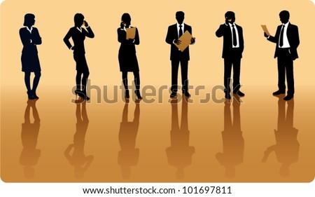 Businessmen silhouettes - stock vector