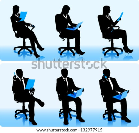 Businessmen silhouettes in office chairs. - stock vector