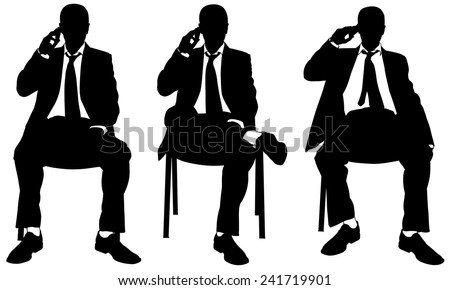 businessmen sitting on chairs talking on the phone - stock vector