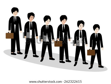 Businessmen standing in a line and waiting-Vector illustration  - stock vector