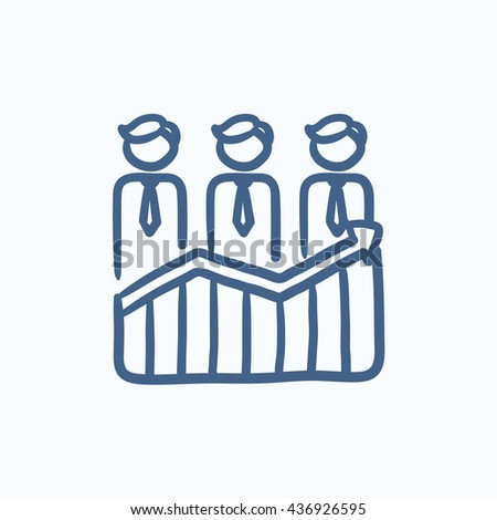 Businessmen standing on profit graph vector sketch icon isolated on background. Hand drawn Businessmen on profit graph icon. Businessmen on profit graph sketch icon for infographic, website or app. - stock vector