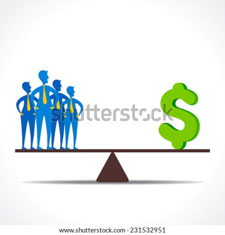 businessmen team and money on weighing scale equality concept vector - stock vector