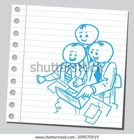 Businessmen teamwork in office - stock vector