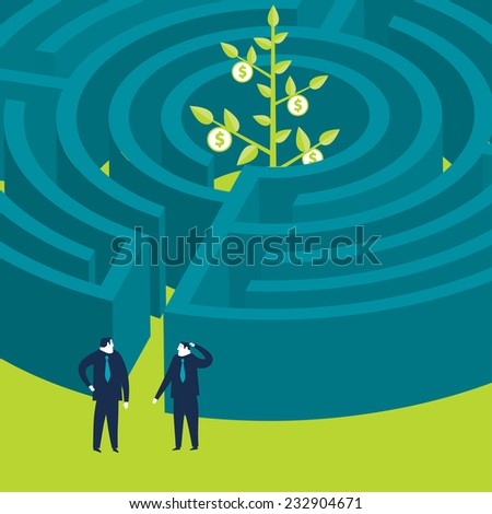 Businessmen wanting to enter a money plant maze - stock vector