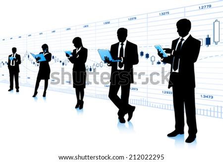 Businessmen with computers - stock vector
