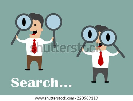 Businessmen with enlarged eyes looking through magnifying glasses with search text. Flat conceptual design - stock vector