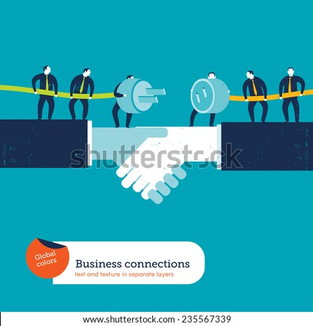Businessmen with plug and socket on a handshake. Vector illustration Eps10 file. Global colors. Text and Texture in separate layers. - stock vector