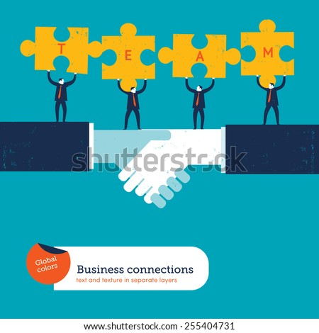 Businessmen with puzzle pieces with the word team. Vector illustration Eps10 file. Global colors. Text and Texture in separate layers. - stock vector