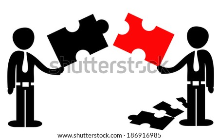 Businessmen with puzzles conceptual vector illustration symbolizing cooperation in business