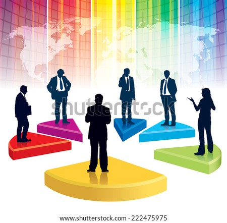 Businesspeople are standing on a large broken graph, the colorful background with world map - stock vector