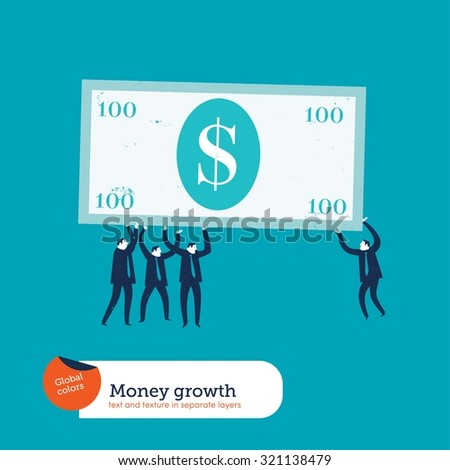 Businesspeople carrying a dollar bill. Vector illustration Eps10 file. Global colors. Text and Texture in separate layer - stock vector