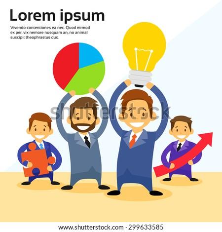 Businesspeople Cartoon Executive Team Flat Vector Illustration - stock vector