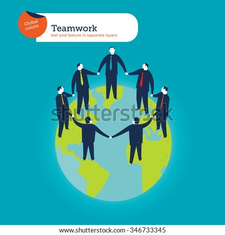 Businesspeople circle on the world.  Vector illustration Eps10 file. Global colors. Text and Texture in separate layers. - stock vector