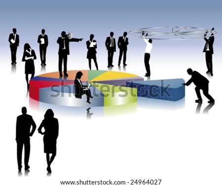 Businesspeople creates a pie chart - stock vector