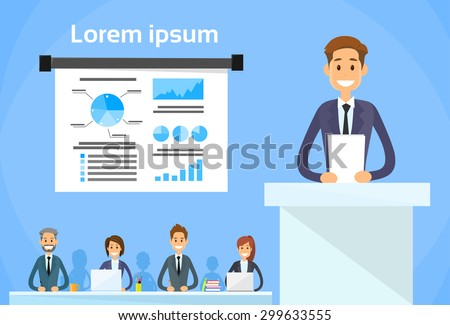 Businesspeople Group Conference Meeting Financial Graph Flat Vector Illustration - stock vector