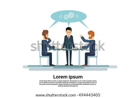 Businesspeople Group Working Creative Team Business People Sitting Office Desk Vector Illustration