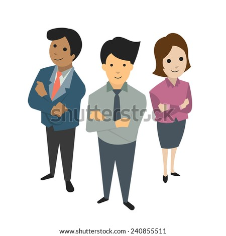 Businesspeople, man and woman, standing together in teamwork concept, bird's-eye view. Flat design.  - stock vector
