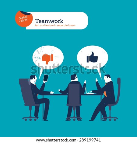 Businesspeople meeting saying I like I don't. Vector illustration Eps10 file. Global colors. Text and Texture in separate layers. - stock vector