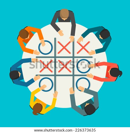 Businesspeople playing Noughts and Crosses game, vector illustration - stock vector