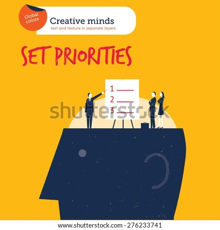 Businesspeople setting priorities on a head. Vector illustration Eps10 file. Global colors. Text and Texture in separate layers. - stock vector
