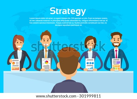Businesspeople Show Finance Graph, Business Conference Meeting People Group Presentation Flat Vector Illustration - stock vector