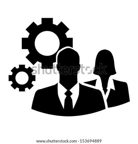 Businesspeople with gears - vector icon - stock vector