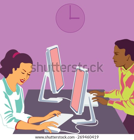 Businesspeople working on computers - stock vector