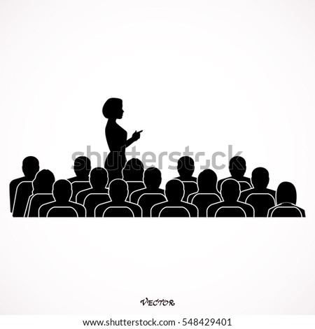Businesswoman Addressing Delegates At Conference. Icon Isolated on White Background. flat style.
