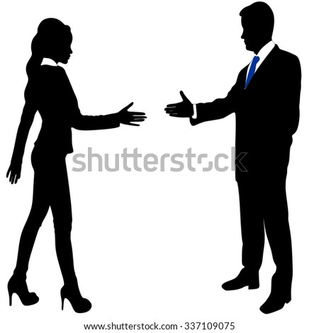 Businesswoman and businessman shaking hands - stock vector