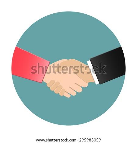 Businesswoman and businessman shaking hands. Vector handshake icon in flat design. - stock vector