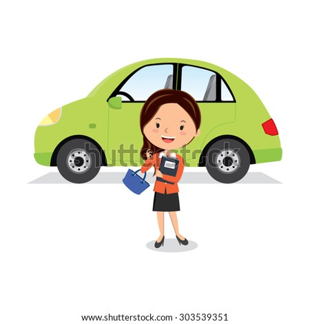 Businesswoman and her car. Vector illustration of a woman standing near a car. - stock vector