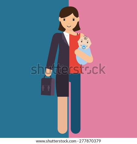 businesswoman and mother, career and motherhood divided  - stock vector