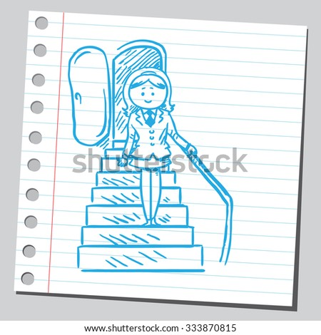 Businesswoman at airplane stairs - stock vector